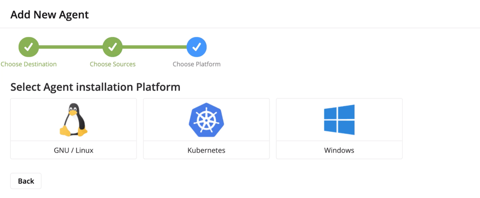 BindPlane Logs First Time setup, BindPlane, Logs, First Time, Setup, Google Stackdriver, Google, Stackdriver, Add new agent platform, Linux, Kubernetes, Windows